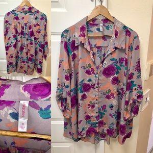 Exhilaration plus size button down blouse